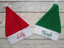 PERSONALISED BABY SANTA ELF HAT FLEECE HIGH QUALITY NAME EMBROIDERED GIFT