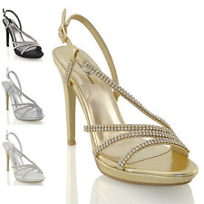 WOMENS BRIDAL DIAMANTE PLATFORM HEELS LADIES PROM PARTY EVEING SANDALS SHOES 3-8
