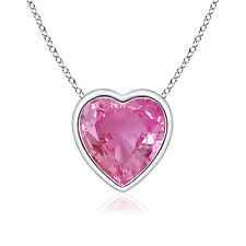 "Solitaire Heart Natural Pink Sapphire Pendant 14k White / Yellow Gold 18"" Chain"