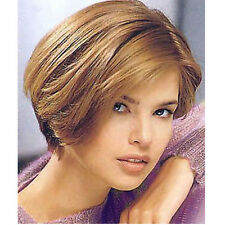 100% human hair women wig blond full wig hand made half toupee ombre short wig