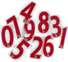 RED Premier League Official Football Shirt Adult Numbers Iron on Print
