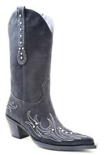 Roper Womens Black Faux Leather 13in Rhinestone Narrow Toe Western Boots