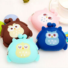 Cute Girls Coin Purse Owl Bag Silicone Mini Wallet Change Purse Keyring Pouch CN