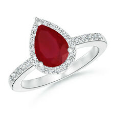 1.91 ctw Solitaire Pear Natural Ruby Diamond Halo Engagement Ring 14k White Gold