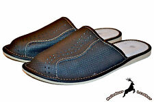 Mens Natural Leather Handmade Black Indoor Slippers Sandal S Scuff All Size New