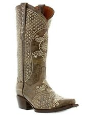 Womens distressed brown wedding leather cowboy boots studded rhinestones western