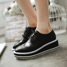 Retro Womens oxford Lace Up Wedge Platform College Brogue Creeper wing tip Shoes