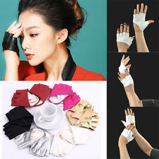 Beauty Half Finger PU Leather Gloves Fingerless Driving Show Pole Dance Party