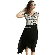 Women Fashion Stylish V-neck Sleeveless Patchwork Asymmetric Hem Summer BF9
