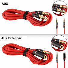 3.5mm AUX Male-Male Auxiliary Cord & Extension Cable M-Female Car MP3 PC - 4ft