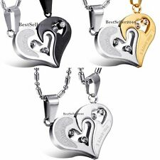 Stainless Steel I Love You Matching Heart Pendant Lovers Couple Necklace Gifts