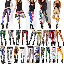 Sexy Womens Punk Graphic Print Slim Legging Stretchy Pencil Jeggings Tight Pants