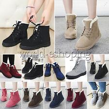 New Womens Winter Warm Faux Suede Snow Boots Fur Lined Lace Up Ankle Booie Shoes
