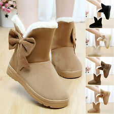 Womens Ladies Girls Bowknot Flat Low Heel Snow Boots Fur Lined Warm Winter Shoes