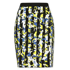 Peter Pilotto PENCIL SKIRT BLACK WHITE YELLOW BLUE Floral Print  6 NEW Target