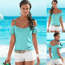 Sale Women Stylish Sexy Sling Solid Color Strapless Tops Short-Sleeved T-shirt
