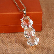 New cylinder  Hollow  Pendant  2016 Necklace  Long chain Crystal  Three zircons