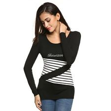 Casual Long Sleeve Stretch Bodycon Patchwork Slim Leisure Basic Top BF9