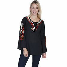 Scully Womens Tribal Embroidered Bell Sleeve Black Western Blouse