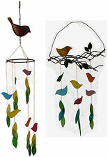 Handcrafted Glass Wind Chime Bird on Branch