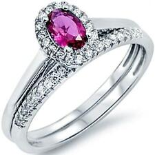 New 925 Sterling Silver Oval Red Ruby Clear CZ All Sizes Available Size 6 Ring