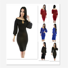 Women Sexy Long Sleeve Peep Hole Off Shoulder Bodycon Club Party Cocktail Dress