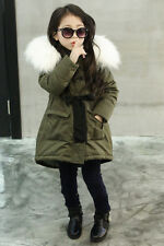 Girls Fur Collar Jacket Fleece Winter Coat KIds' Thick Army Green Outerwear 3-8T