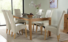 Tate 150cm Oak and Glass Dining Table and 4 6 Boston Chairs Set (Ivory)