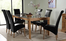 Tate 180cm Oak and Glass Dining Table and 4 6 8 Boston Chairs Set (Black)