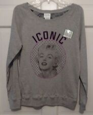 Woman Sweatshirt Gray Marilyn Monroe Reversible Iconic Patterns Signatures NWT M