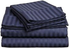 Hotel Style Duvet Set 3 PC's 1000 Thread Count Egyptian Cotton Navy Blue Stripe