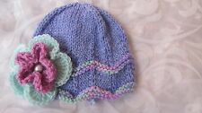 HAND KNITTED BABY BEANIE HAT LILAC WAVY EDGE WITH PINK, AQUA FLOWER NB- 18/24 MT