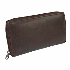 New Paul & Taylor Leather Deluxe Zip Around Checkbook Cover Wallet