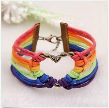 LGBT Flag Lesbian Bracelet Braid Rainbow Valentine's Gifts Gay Love Charm Pride