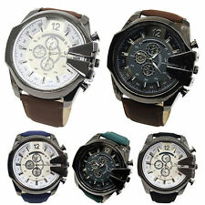 Men Big Dial Faux Leather Band Stainless Steel Quartz Sports Wrist Watch Goodish