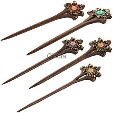 Womens Flower Hair Stick Pin Rhinetone Hair Accessory Bride Decor Chinese Style