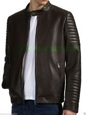 Mens Black Brown Leather Jacket Genuine Leather OR Faux Biker St45