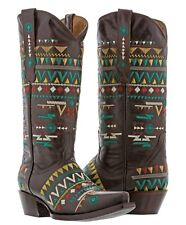 Womens navajo brown leather cowboy boots native multi color embroidered western
