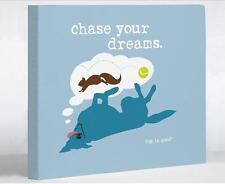 """Chase Dreams - Blue Canvas  Print Wall Art by Dog is Good on 2"""" Wrapped Canvas"""