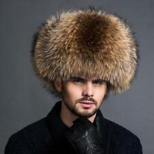 Genuine Real fox Raccoon Fur hat men Winter warm Sheepskin top Russian fur hat