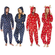 ONEZEE Unisex Novelty Super Soft Fleece Hooded Onesie All in One Jumpsuit - Xmas