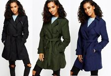Ladies Double Breasted Womens Trench Mac Coat Belted Fashion Jacket Size 8-18