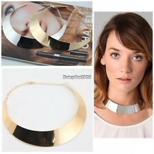 New Metal Chic Punk Style Curved Mirrored Choker Polished Bib Slim Necklace ED