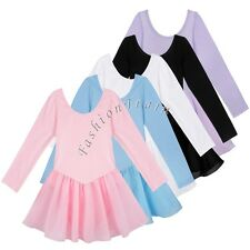 Girls Kids Gymnastics Long Sleeve Leotard Ballet Skirt Dress Yoga Dance Dresses
