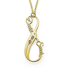 Vertical infinity Name Necklace in 18K Gold Plating with Birthstones