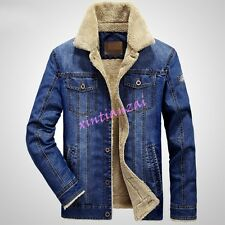 Mens Male Denim Cowboy Fur Lined Warm Cotton Coat Jeans Jacket Outwear M-4XL New