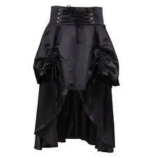 Sexy Punk Rock Black Ruffles Long Skirts Vintage Gothic Steampunk Corset Skirt