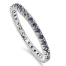 925 Sterling Silver Eternity Amethyst CZ Stackable All Sizes Available 4-12 Ring