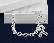 Believe Puzzle Piece Ribbon Chunky Charm Bracelet for Autism Awareness