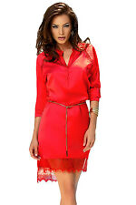 Charming Red Long Sleeve Shirt Dress with Waist Chain Club Bodycon Women Dress